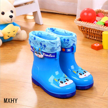 MXHY new fashion PVC rubber children baby cartoon children's water shoes waterproof warm Rain boots  classic children's shoes