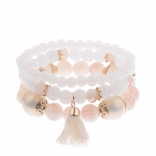 Amader 2017 Spring Summer Fashion Women's Bracelet Set 3Pcs/Lot High Quality Charm Beads Bracelet Jewelry For Ladies HXB002(China)