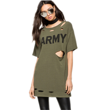 Summer New Europe Street Personality Cool T-shirts for Women Holes Hollow Letter Long Top Short Sleeve Casual T shirt Army Green