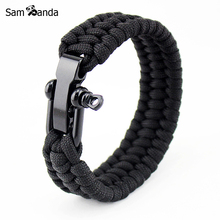 Outdoor Camping Braided Pulseras Rescue Paracord Bracelets Parachute Cord Men Emergency Rope Survival Stainless steel Jewelry(China)