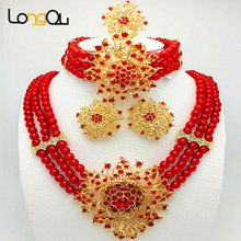 Free Shipping bridal jewelry set best quality african big jewelry sets wedding costume jewellery african bead jewelry