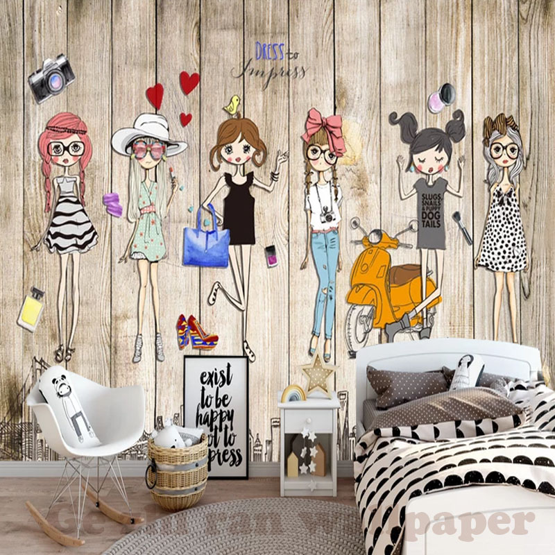 HTB1jljRtY1YBuNjSszhq6AUsFXaE - Custom 3D Mural Hand-Ppainted Fashion Girl Wallpaper For Children Room