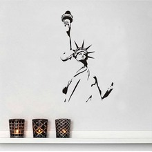 DCTOP Statue Of Liberty Wall Sticker New York City Symbolic Vinyl Removable Home Decor Liberty Enlightening The World For Wall(China)
