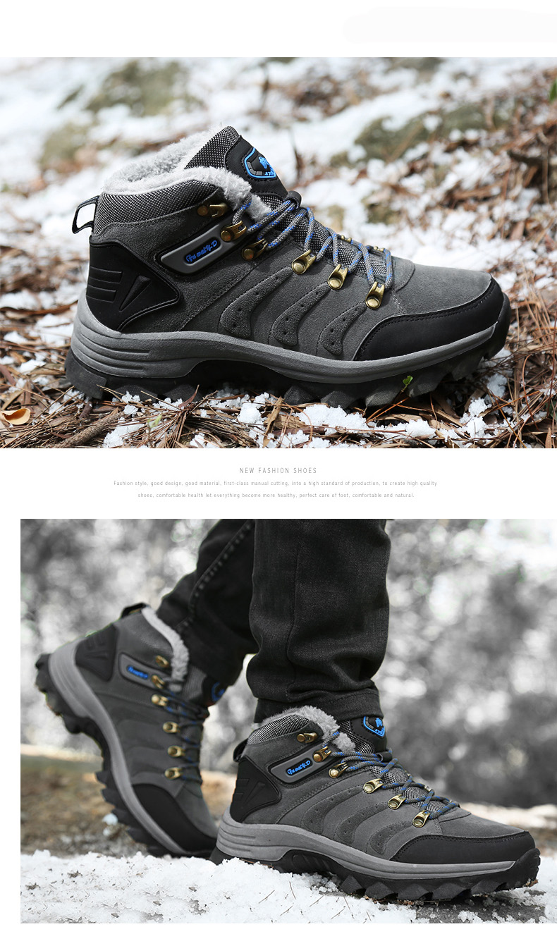 Luxury Men Boots Men Winter Snow Boots Warm Fur&plush Lace Up High Top Work Men Designer Driving Sneakers Male Winter Boots 13