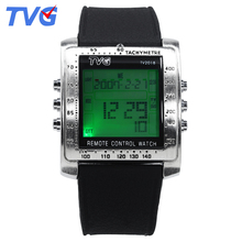 TVG Rectangle Remote Control Digital Sport Watch Men Watches Alarm TV DVD Remote Stainless Steel Wristwatch Relogio Masculino