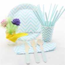 Eco Friendly Light Blue Chevron Party Tableware Set,Compostable Zig Zag Wooden Cutlery Set,Paper Straws,Napkins,Plates,Cups