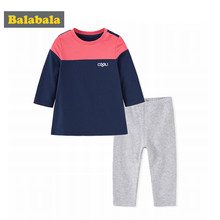 Balabala Baby Boy 2-Piece Contrasted Long Pullover Sweatshirt Trim + Pull On Pants Set Newborn Infant Baby Autumn Clothing Set(China)