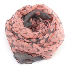 2017 Hot Sale Women Scarf  Autumn Warm Soft Long Voile Neck Large Wrap Shawl Stole Pink Grey Dots Scarve 166*60cm HO950748