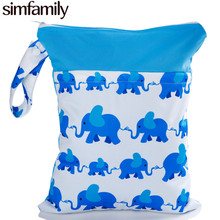 [simfamily]1PC Reusable Water resistant Printed PUL Diaper Wet Bag Double Pocket,Cloth Handle,28x36CM Wholesale Selling(China)