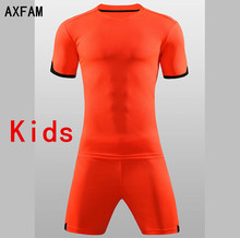 AXFAM Kids Football Jersey shorts Soccer Sets Slim Training Suit Breathable Perfect quality Short Sleeved Football Uniform QD625