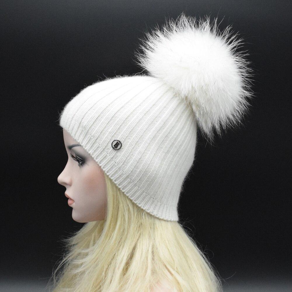 MIGEDE 2017 Last brand winter new knitted caps solid color Women Beanie Big Raccoon fur pompoms Elegant women winter Wool hats Îäåæäà è àêñåññóàðû<br><br>