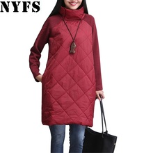 NYFS 2017 Autumn Winter Women Dress M-4XL Turtleneck Loose Patchwork Robe Elbise Cotton Soft Black Gray Red Tunic Vestidos(China)