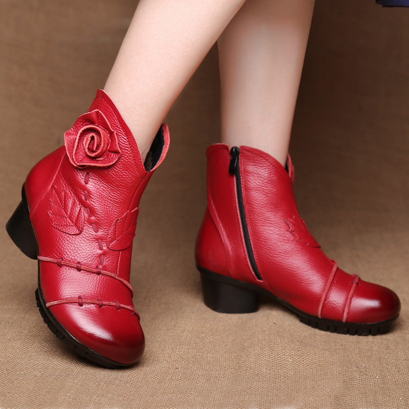 Autumn Winter 2018 Vintage Womens Shoes Genuine Leather Boots Flower Handmade Plush Warm Cotton Botas Mujer Plus Size Red/Grey<br>