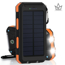 Solar Power Bank 20000mAh Dual USB Port Outdoor Waterproof Power Bank with Dual LED Light & compa Solar Charger for iPhone