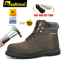 Safetoe Men Work Boots Leather Safety Shoes Leather Safety Boots Working Safety Boots Work Shoes for Men Steel Toe Cap Boots(China)