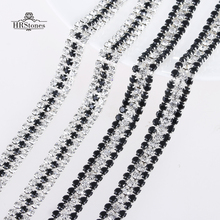 Two Styles White & Black 2 Yards Glass Cup Chains Rhinestone Chain Claw Chains Rhinestone Trimming For DIY Garment Accessories
