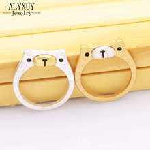 wholesale New fashion jewelry cute little bear finger ring  Matte gold silver color for women girl nice gift R1618