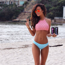 2017 Wade Sea New Design Summer Geometry Printed Swimwear Women Sports Swimsuit Bikinis Sexy Pink High Neck Bikinis Set Bikini