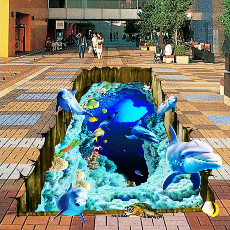 Free Shipping Creative Underwater world 3D floor wallpaper study office bathroom self-adhesive floor mural<br>