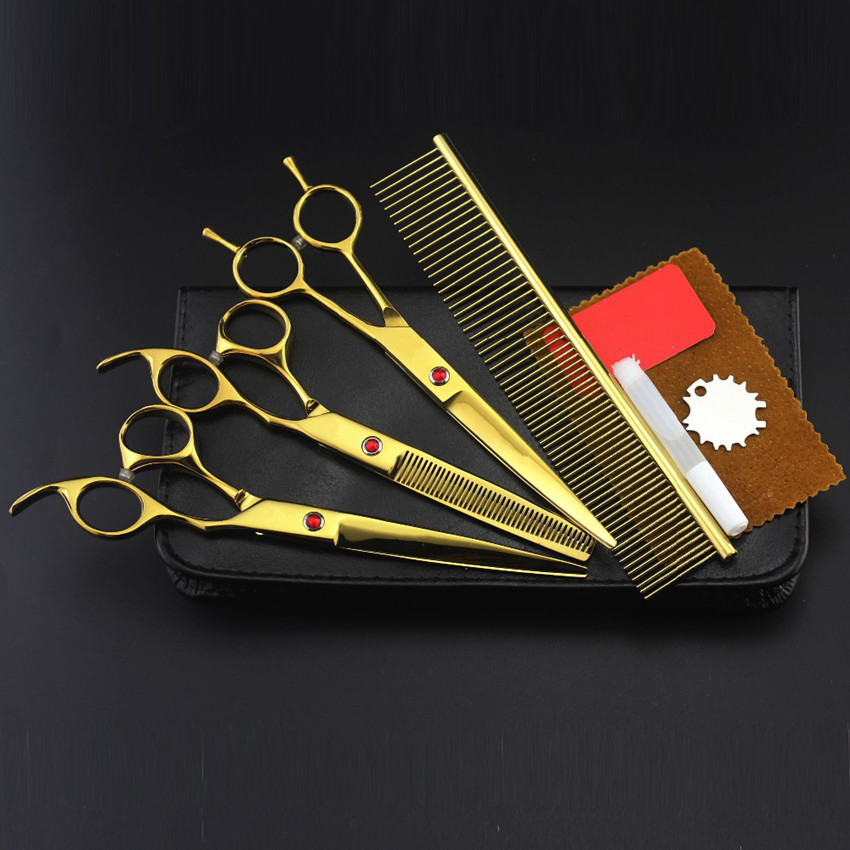 Professional 4 kit 8 inch gold pet grooming shears cutting hair scissors dog grooming thinning barber hairdressing scissors set<br>