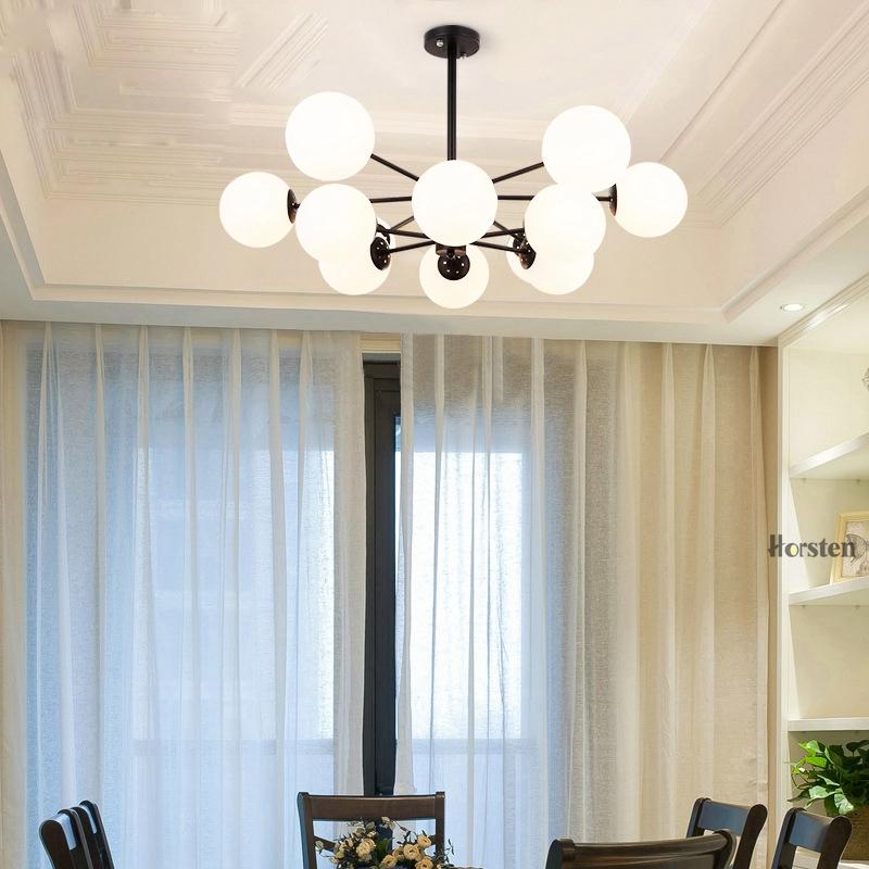 Horsten Nordic Creative Magic Bean Pendant Lights 6812 Heads Glass Ball Pendant Lamp For Living Dining Room Cafe Restaurant E27 (8)
