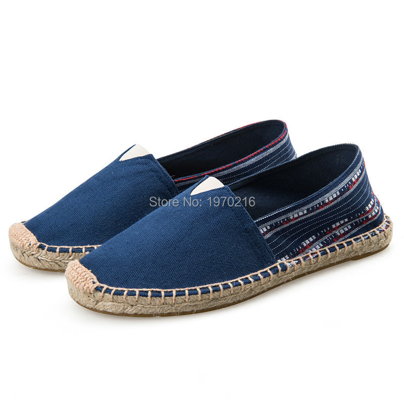 2017 Big size Flats!Brand Canvas Espadrilles Olive Green/Navy blue,National style Male/Female Cotton Casual Shoes US11 and Eu44<br><br>Aliexpress