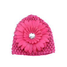 2017 Winter Warm Cute Baby Girl Candy Colors Daisy Flowers Hand Crochet Beanie knitted Hat Cap Accessories
