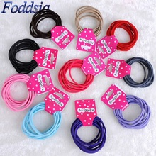 Foddsia 10pcs Korean Candy Color Hair Elastic Band Kids Headwear Hair Rope Ponytail Holder Band Ties Girls Hair Accessories R4