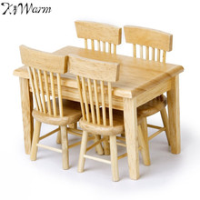 KiWarm 5pcs 1/12 Miniature Dining Table Chair Doll House Wooden Furniture Set for Home Room Decor Ornaments Kids Doll Gift