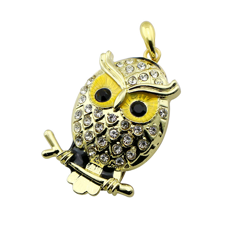 Animal USB Flash Drive Metal Diamond Owl Pendrive Nighthawk Pen Drive 4GB 8GB 16GB 32GB 64GB USB Memory Stick Gift With Necklace 26