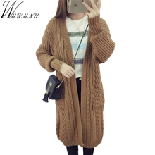 Wmwmnu High Quality Long Cardigan Women Sweater 2017 New Autumn Winter Long Sleeve Knitted twist Cardigans Female Tops ls448