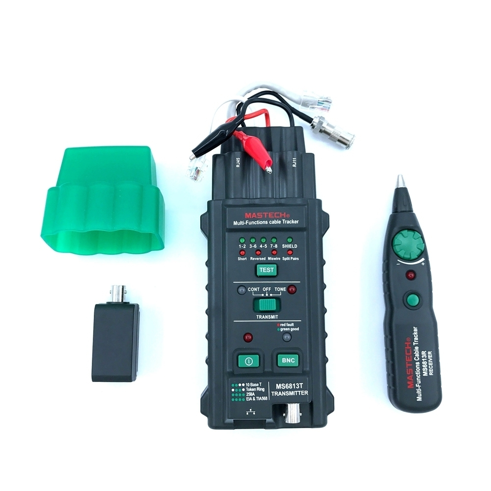 Mastech MS6813 Multi-functional Vector Cable Tracker Network Analyzer RJ45 RJ11 NBC Short Reversed Miswire Split Pairs Tester<br>