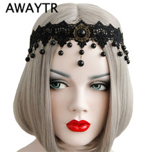 AWAYTR Women Elastic Headband Crown Black Flower Lace Chain Faux Pearl Drop Tassel Stone Halloween Party Bridal Hair bands(China)