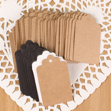 100Pcs 3 Colors Brown Black White Kraft Paper Tags Lace Scallop Head Label Luggage Wedding Note Blank price Hang tag Gift Card
