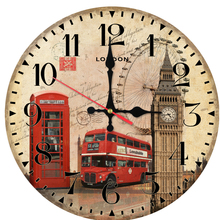 new real wall clock wooden clocks Quartz circular watch home decor Europe living room single face stickers style life(China)