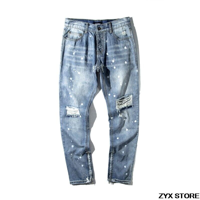 2017 New Ripped Biker Jeans FOG Style Men With Holes Denim Skinny Famous Designer Brand Slim Fit Jean Pants Scratched JeansÎäåæäà è àêñåññóàðû<br><br>