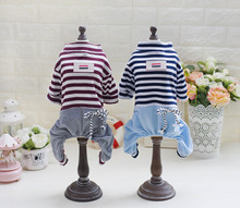 New Stripes Dog Clothes Summer Soft Cotton Dog Pajamas Small Dog Jumpsuit Rompers Pet Clothes