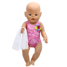 Baby Born Doll Clothes Swimsuit Bikini + Scarf Suit Fit 43cm Zapf Baby Born Doll Accessories Birthday Gift X-117(China)