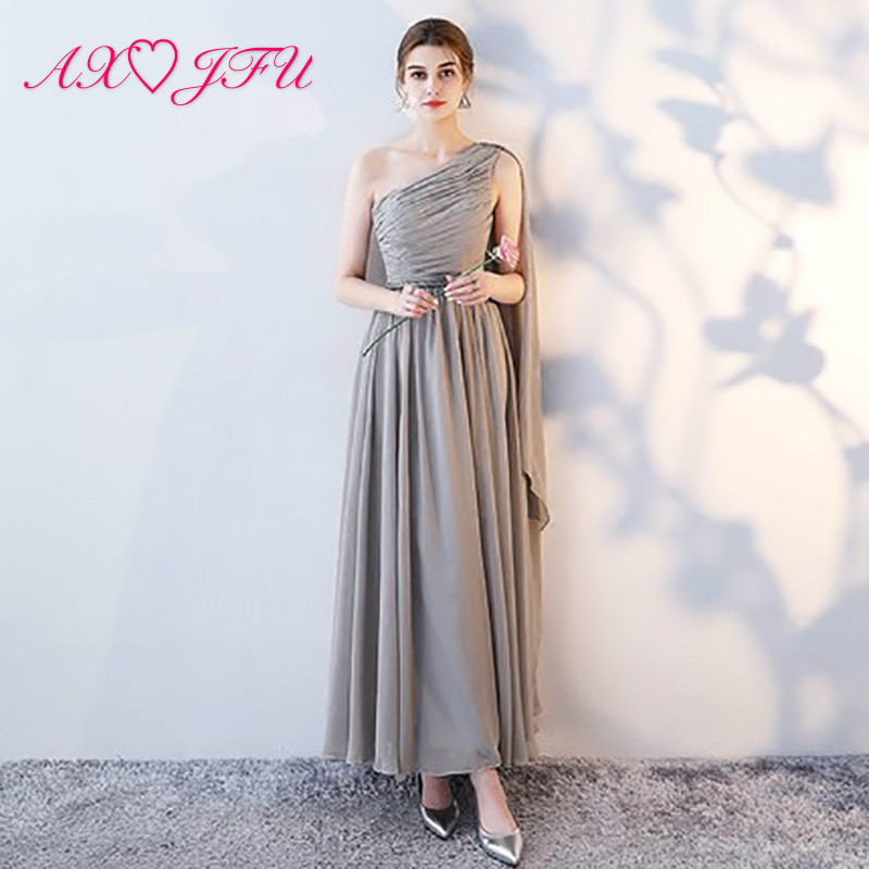 AXJFU Robe De Soiree gray Lace Slit Short Evening Dresses women luxury Formal Gown lace up Prom Dresses robe rouge