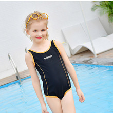 Rhyme Lady 2017 Swimsuit Girls One Piece Swimwear Solid Bodysuit Children Beachwear Sports Swim suit(China)