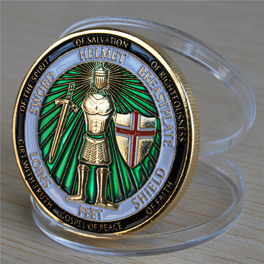 Armor of God Defend the Faith - Brass Challenge Coin (10)