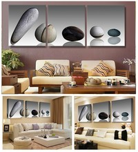 Three board combined modern wall art oil painting canvas painting hd print posters painted flower pebble beach this Mosaic home