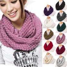 New Arrival Fashion Women Winter Warm Knitted Neck Circle Wool Cowl Snood Long Scarf Shawl Solid Color Luxury Brand New