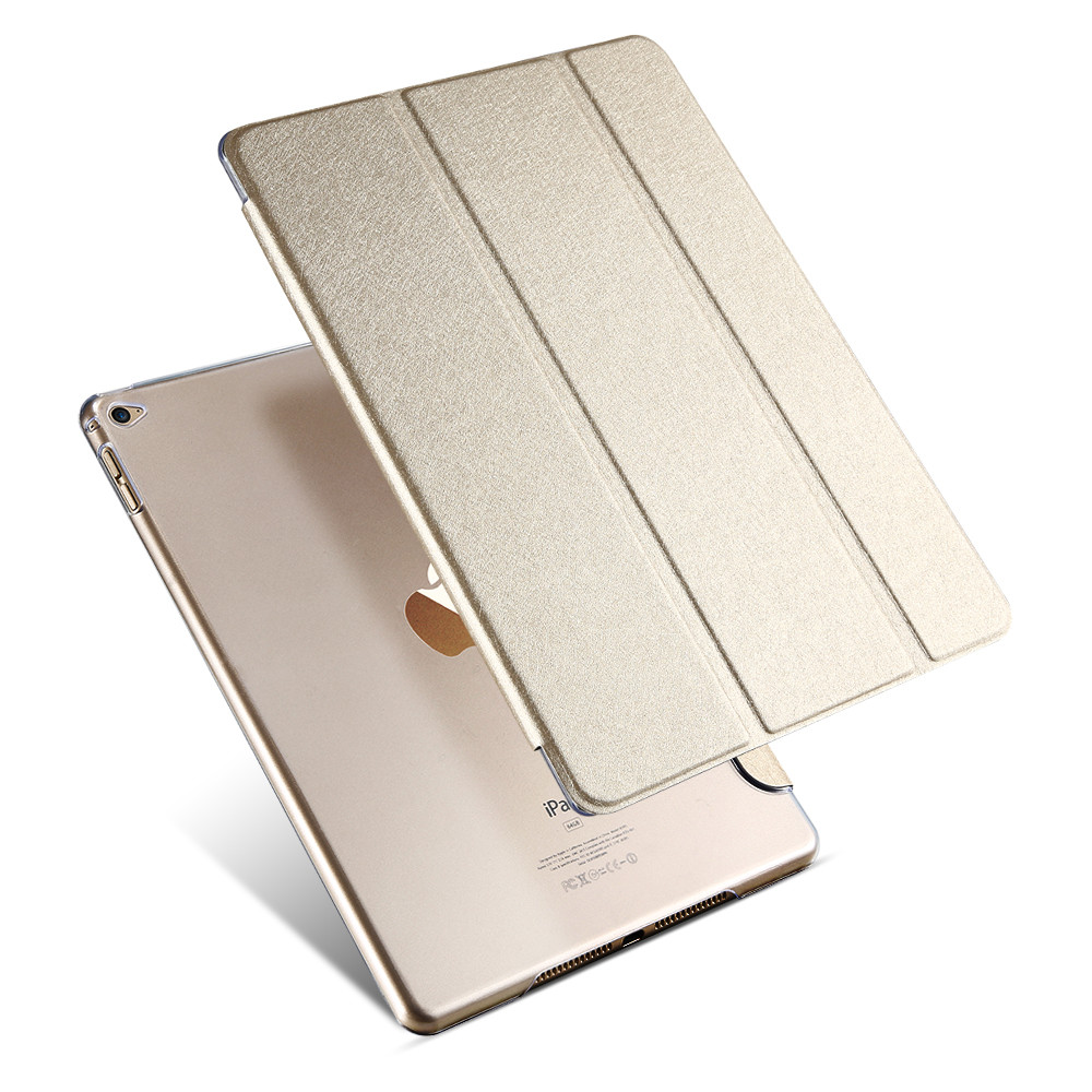 For Ipad 6 Case Slim Silk Three Fold Stand PU Leather Case For Ipad Air 2 Flip Transparent Clear Cover Smart Sleep Wake Function<br><br>Aliexpress