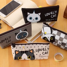 Cat pencil bag PU Pen Case Multifunction makeup bag Kitty Kitten Zip Bag large capacity soft touch Adorable Cute Jelly Glue(China)