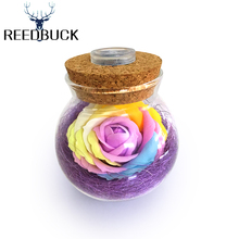 LED RGB Dimmer Lamp Creative Romantic Bulb Rose Flower Bottle Light Great Holiday Gift For Friends Lady Girl + 16 Colors Remote