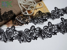 Beautiful Lace 5 Yards / Lot soluble butterfly lace trim 6.8CM wide black clothing strand empty lace SK#90544 from southki