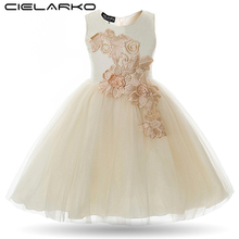 Cielarko Girls Dress Appliques Flower Wedding Party Baby Dresses Mesh Evening Prom Ball Gowns Children Frocks Vestidos for Girl(China)
