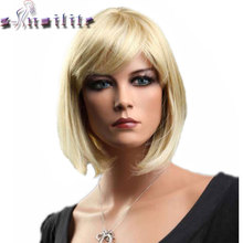 S-noilite Short Straight Hair Wig Black Brown Blonde Red Women Synthetic Full Head Wigs With Flat Bangs Heat Resistant(China)