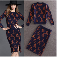 SMTHMA 2017 Autumn Winter Women Popular Knee Length Split Tail SKirt Suits Kangaroo Print Knitted Wool Sweater Pencil Skirt Sets(China)